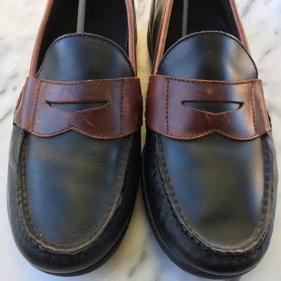 Mens Sperry Loafers Black Brown Leather